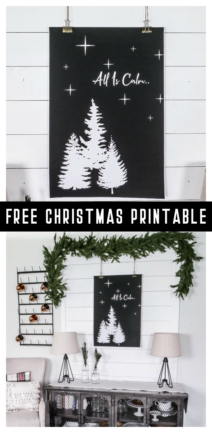 Recreate this Christmas Display by downloading your own free Christmas printable to hang in your own home!