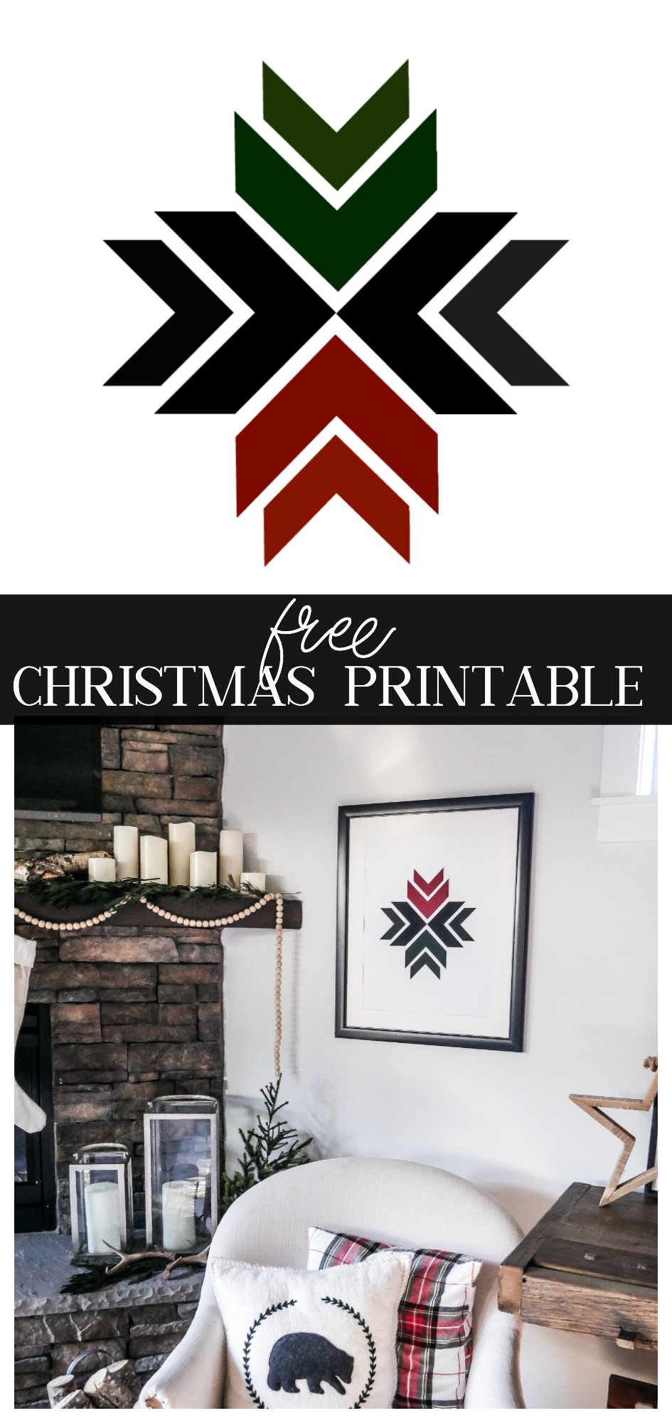 Download your own FREE Copy of this Geometric Christmas Printable! This modern Christmas art is black and white with subtle pops of red and green.