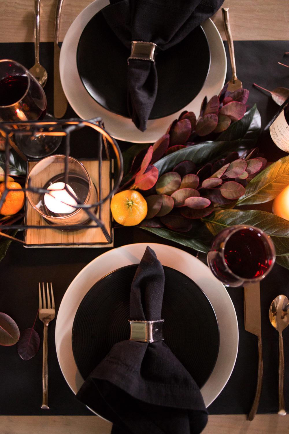 This moody Thanksgiving Tablescape is elegant yet dramatic.