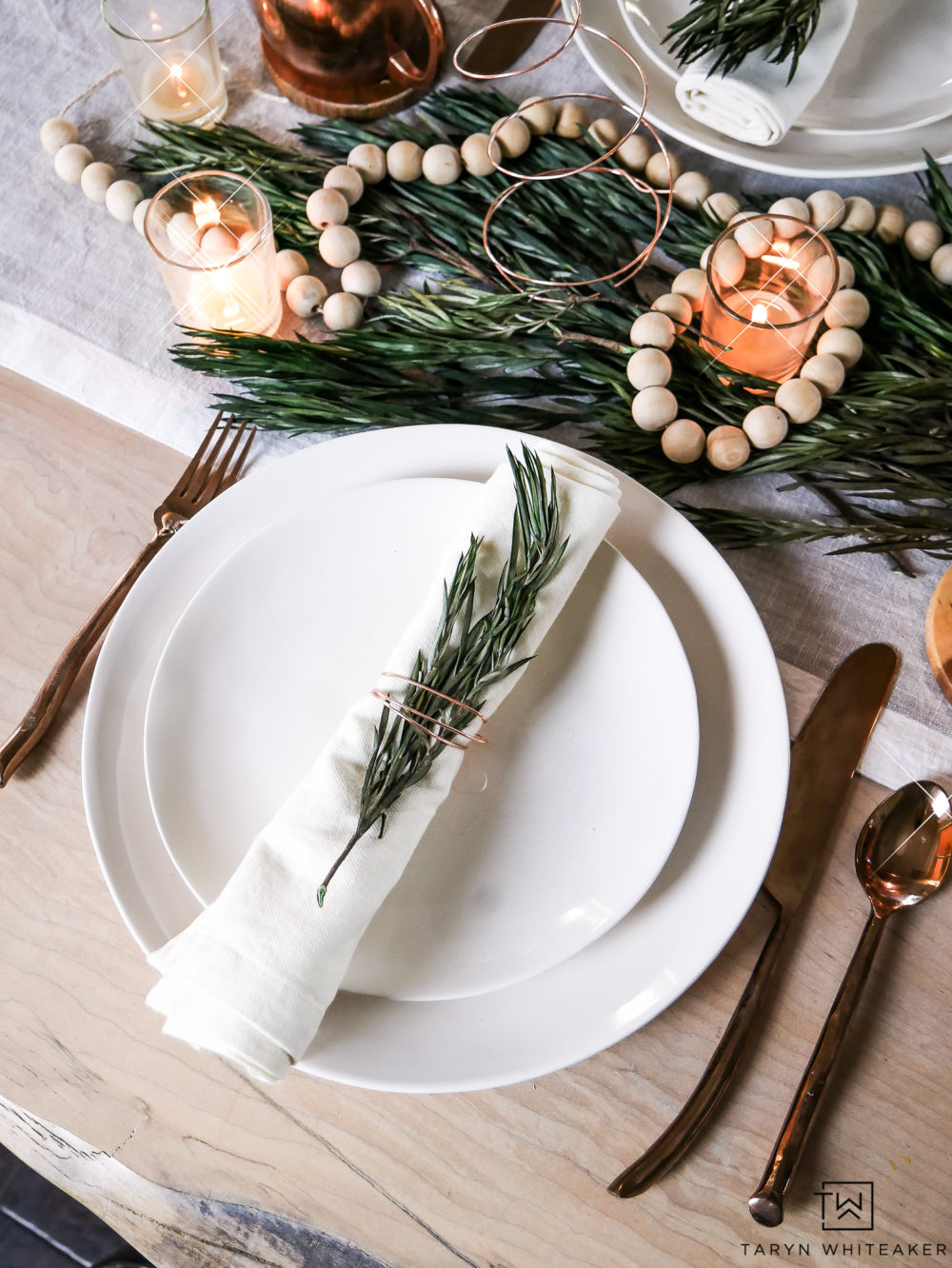 Neutral Christmas Place Setting. Mixing creamy whites with fresh greens and natural wood. Simple and elegant.
