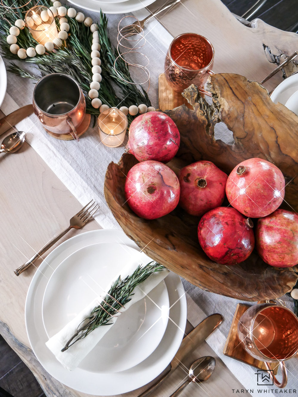 Create a simple Christmas Centerpiece using a live edge bowl full of character and filling it with natural elements.