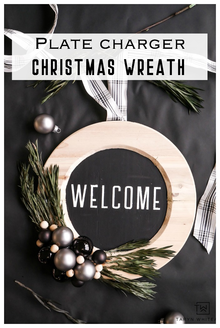 Get the tutorial for this Modern DIY Plate Charger Christmas Wreath! Customize it to your own style by adding color.