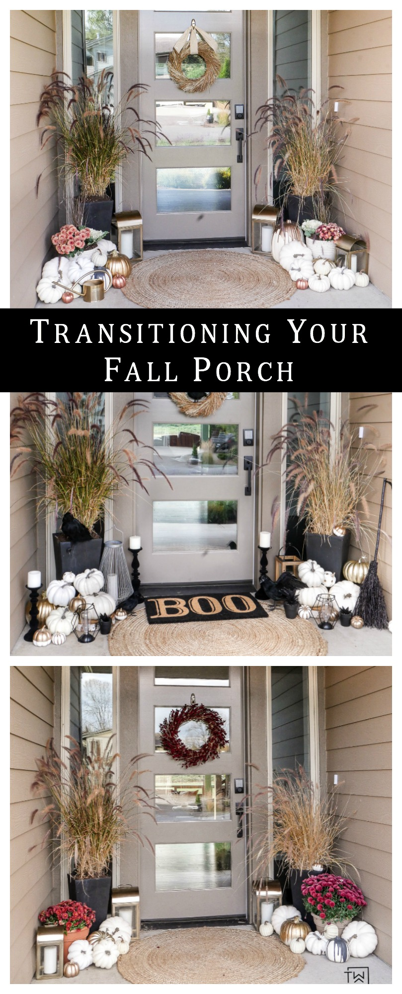Learn how to easily transition your fall porch into early fall, Halloween and Thanksgiving by only changing a few items!