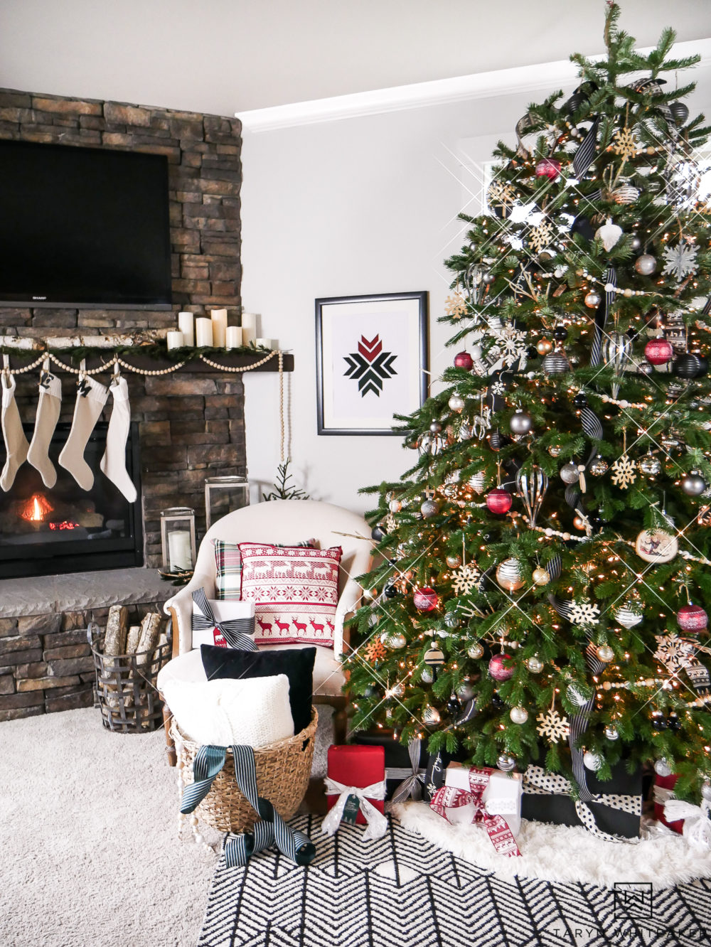 Take a tour of this woodland chic Christmas Tree that used red, black and metal ornaments mixed with natural wood textures.