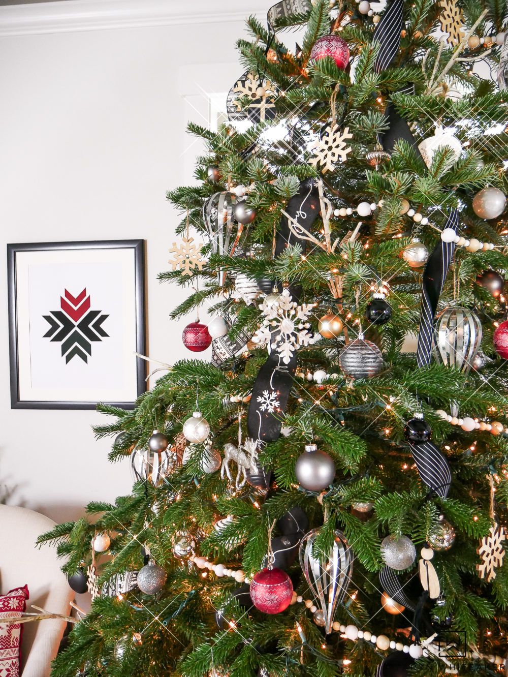 Woodland Chic Christmas Tree Decor in Red, black and white! Such a fun mixture of ornaments!
