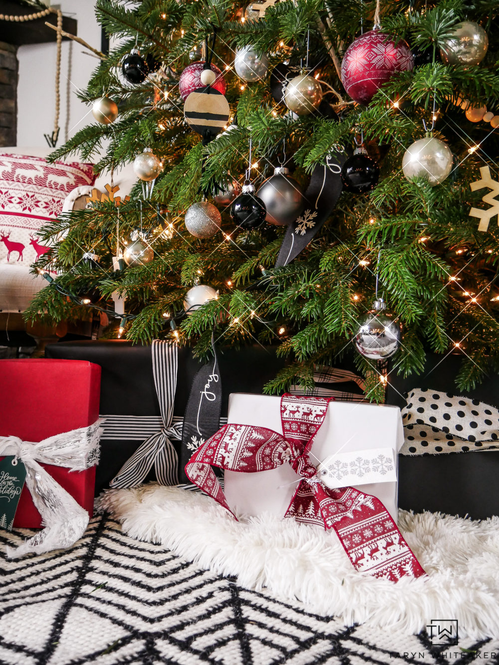 Red, black and white Christmas Decor and gift wrap with Scandinavian patterned ribbon