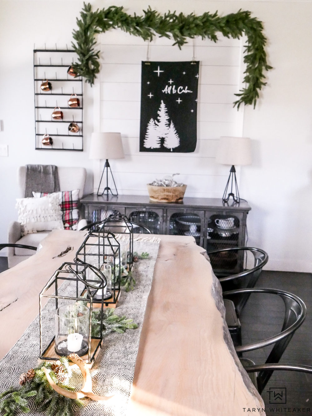 Live Edge Table with Modern Christmas Centerpiece