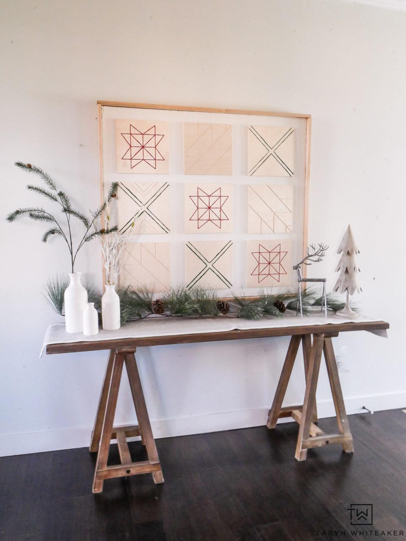 DIY Scandinavian Christmas Art using Wood Canvases and minimalistic holiday decor.
