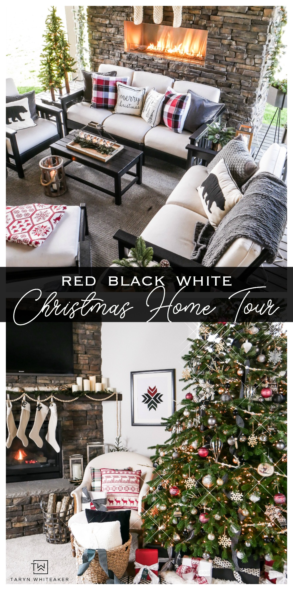 Take a tour of this Rustic Modern home for the holidays! See how she used red, black and white with lots of greenery to decorate for Christmas!