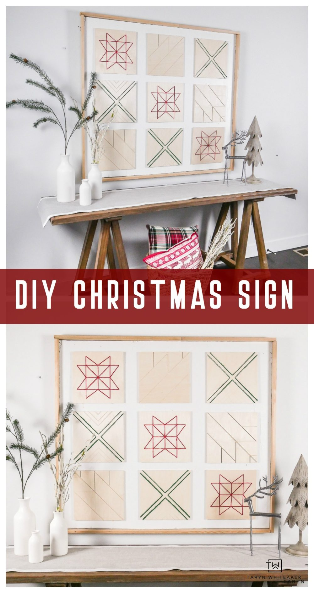 Create your own Scandinavian Inspired Christmas Sign using wood canvases and a little paint! Such a unique look!