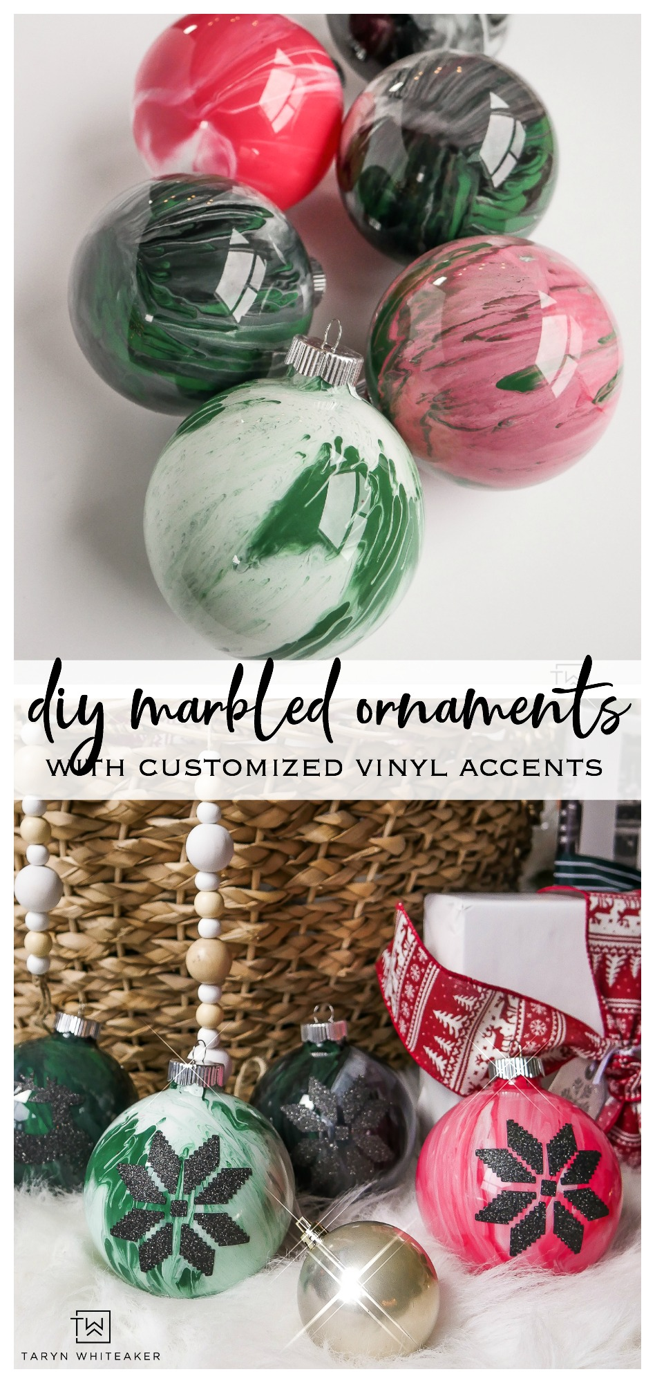 Learn how to make these personalized DIY Marbled Ornaments with custom glitter vinyl designs!