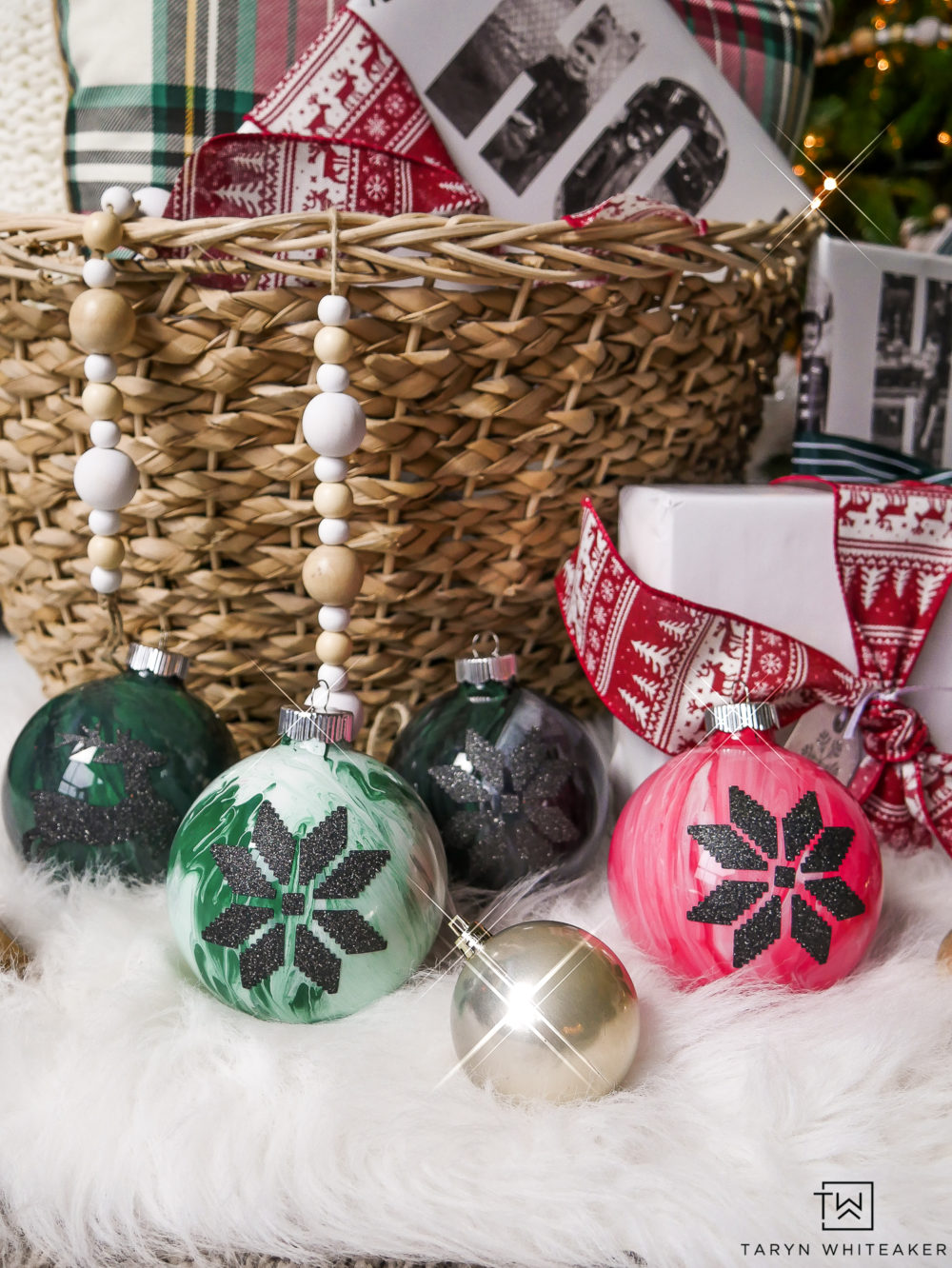 These are such cute handmade ornaments! I love the DIY Marbled Ornament look paired with the modern black Christmas designs on top! Great project for your Cricut!