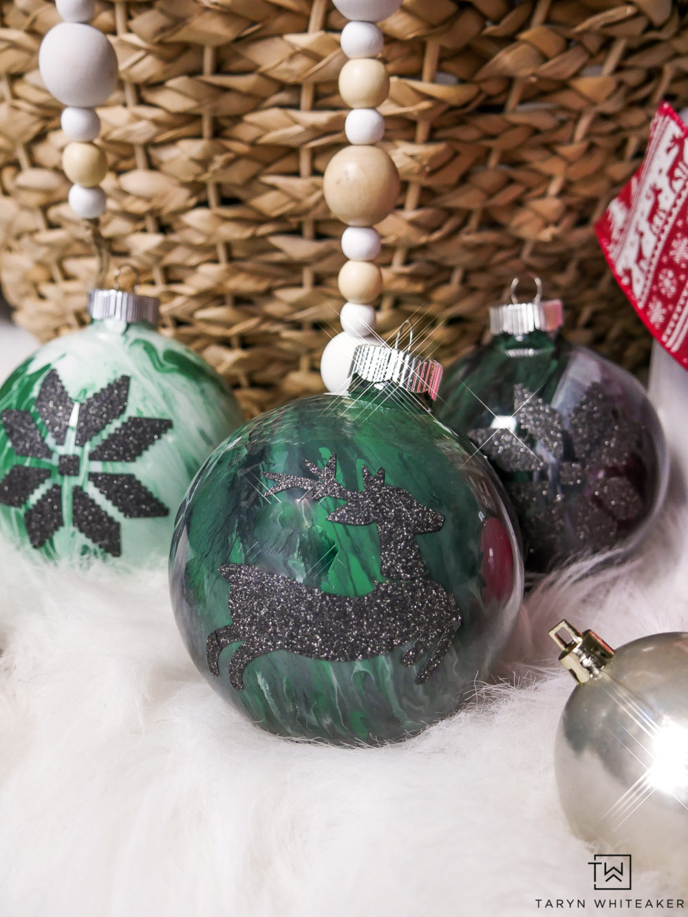 Green and Black Marbled Paint Ornaments! Love how these Ornaments are personalized with glitter vinyl!