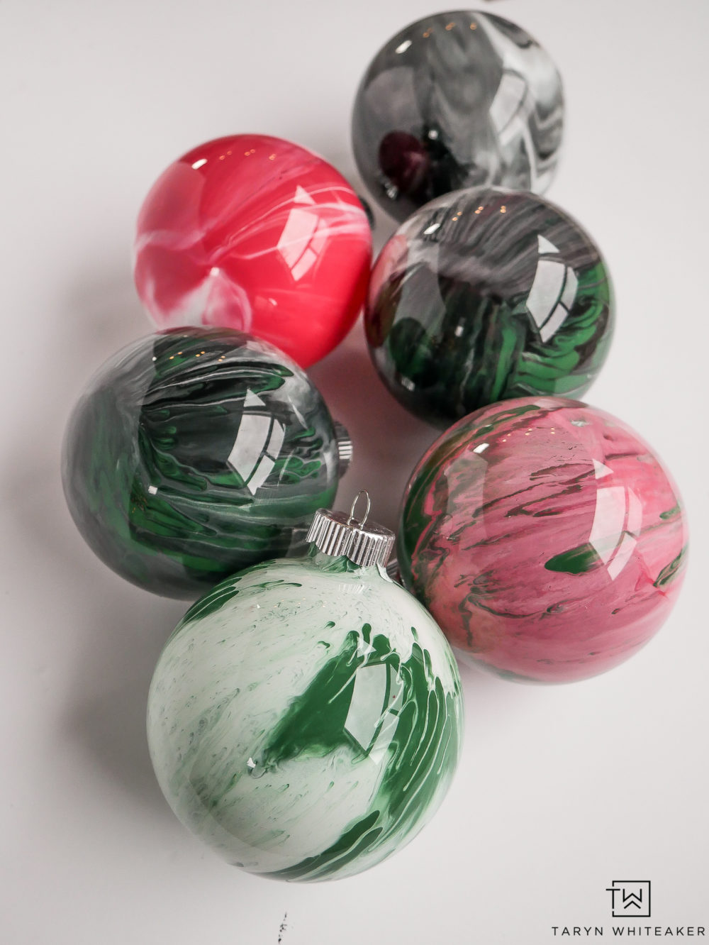 DIY Marbled Glass Ornaments using Folk Marbled Paint!