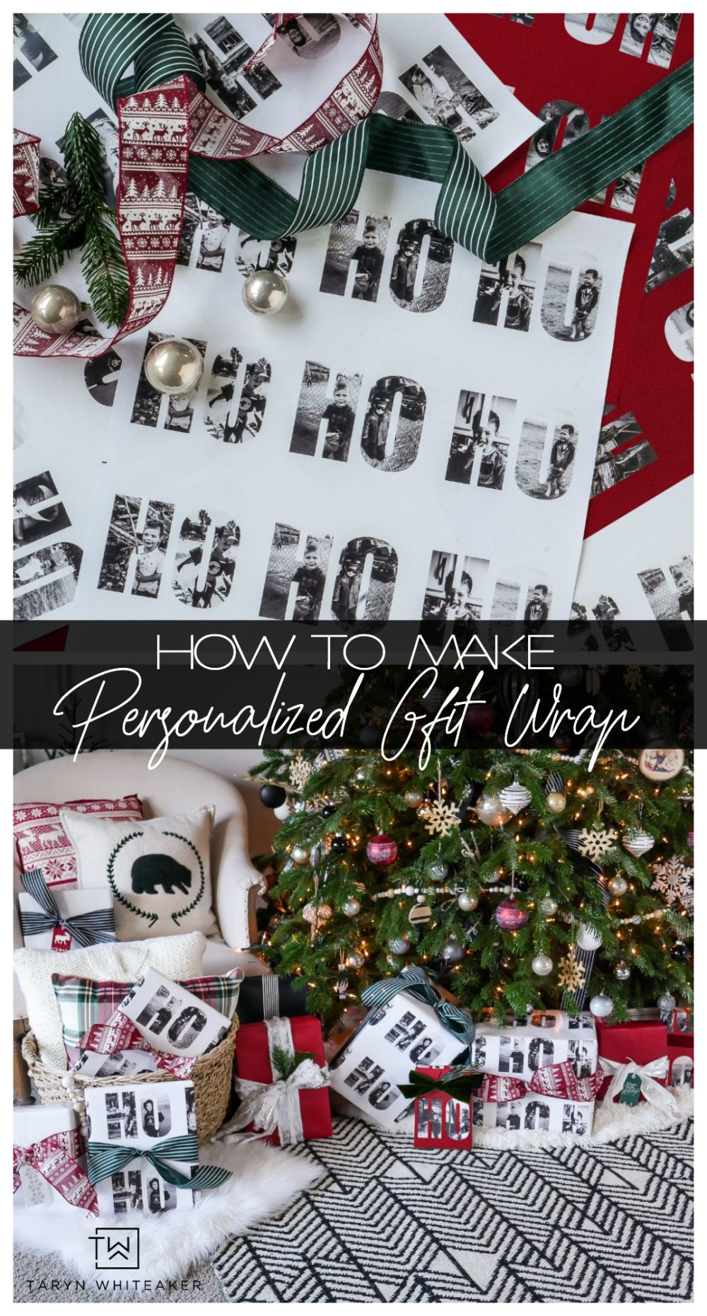 Learn how to create your own personalized Christmas gift wrap by turning special photos from throughout the year into photo text! Such a fun Christmas Tradition to start with your family!