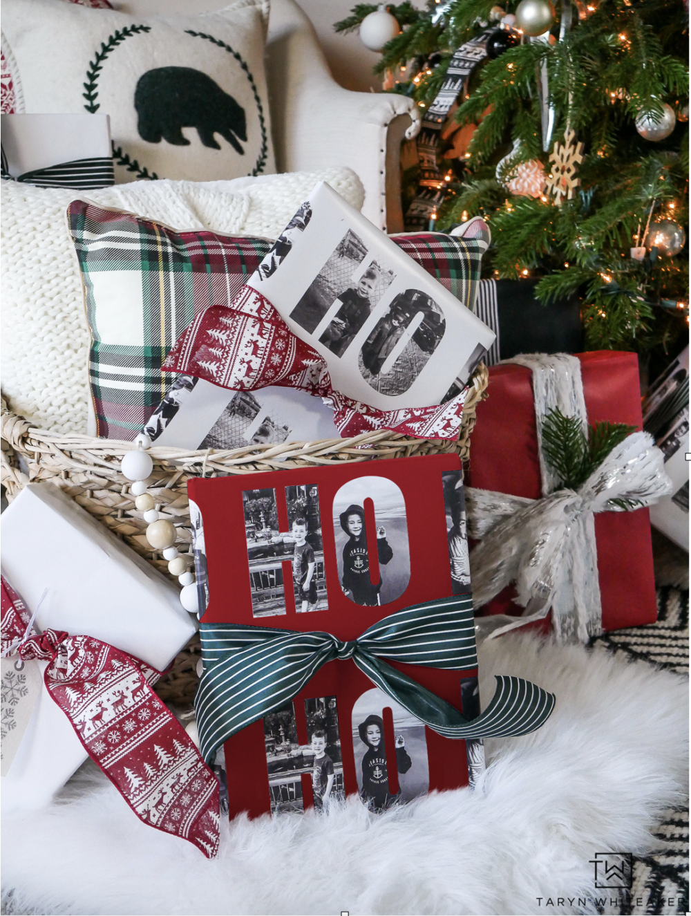 Love this idea of turning personal photos into custom wrapping paper for the holidays! Look closely and see the family photos inside the 'HO HO HO'!