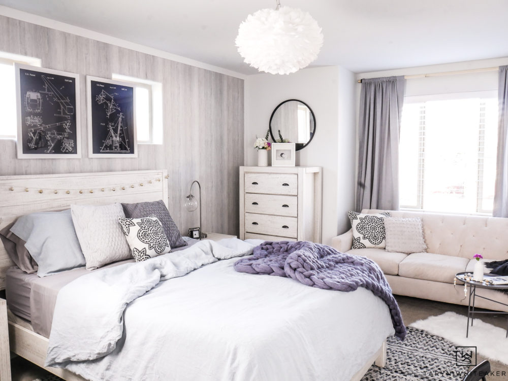 Blue and gray and black Boho bedroom! Love the texture and soft blue tones.