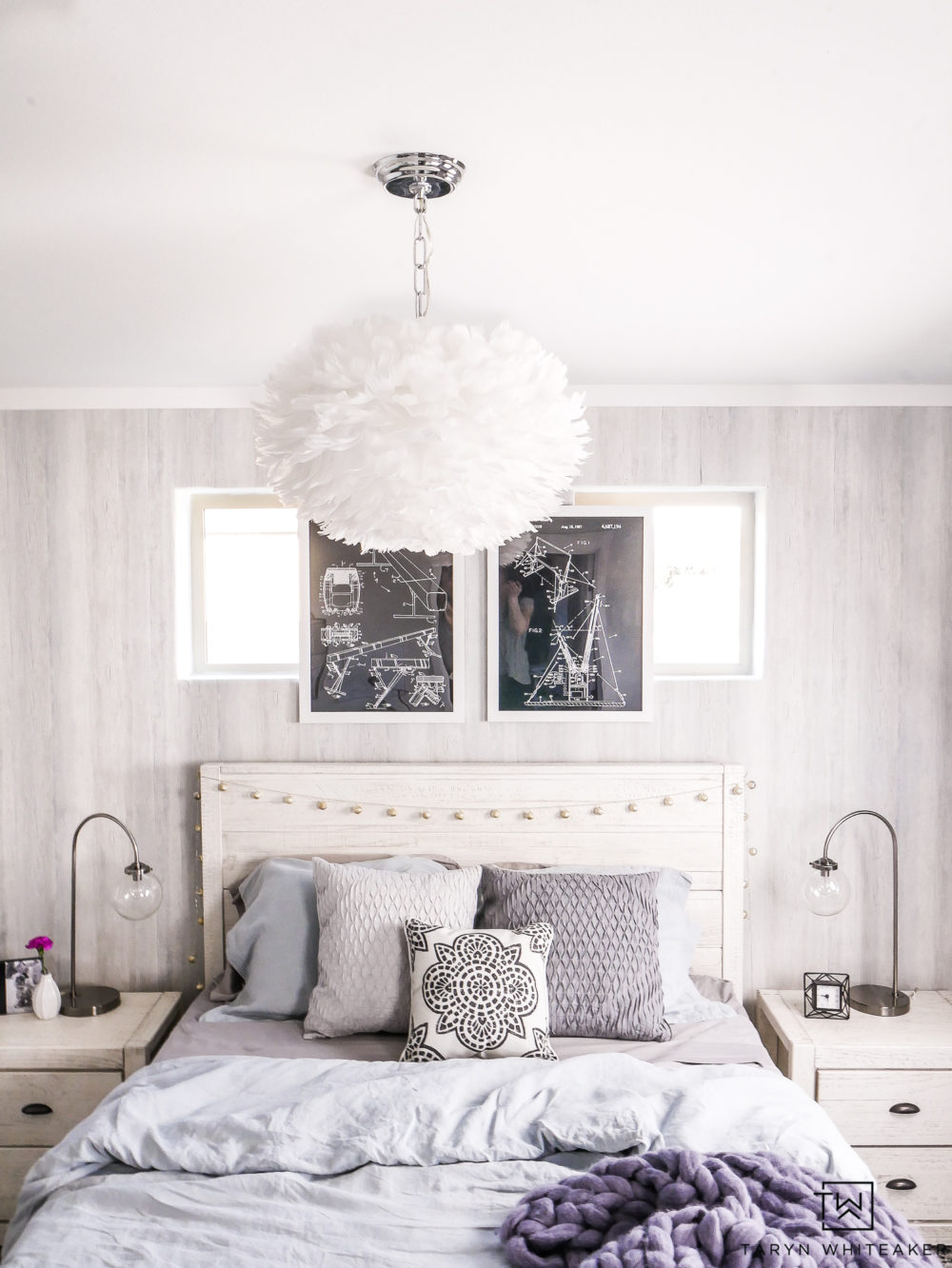 Coastal Boho Bedroom with soft textures. Love this soft blue girls room with lots of texture.