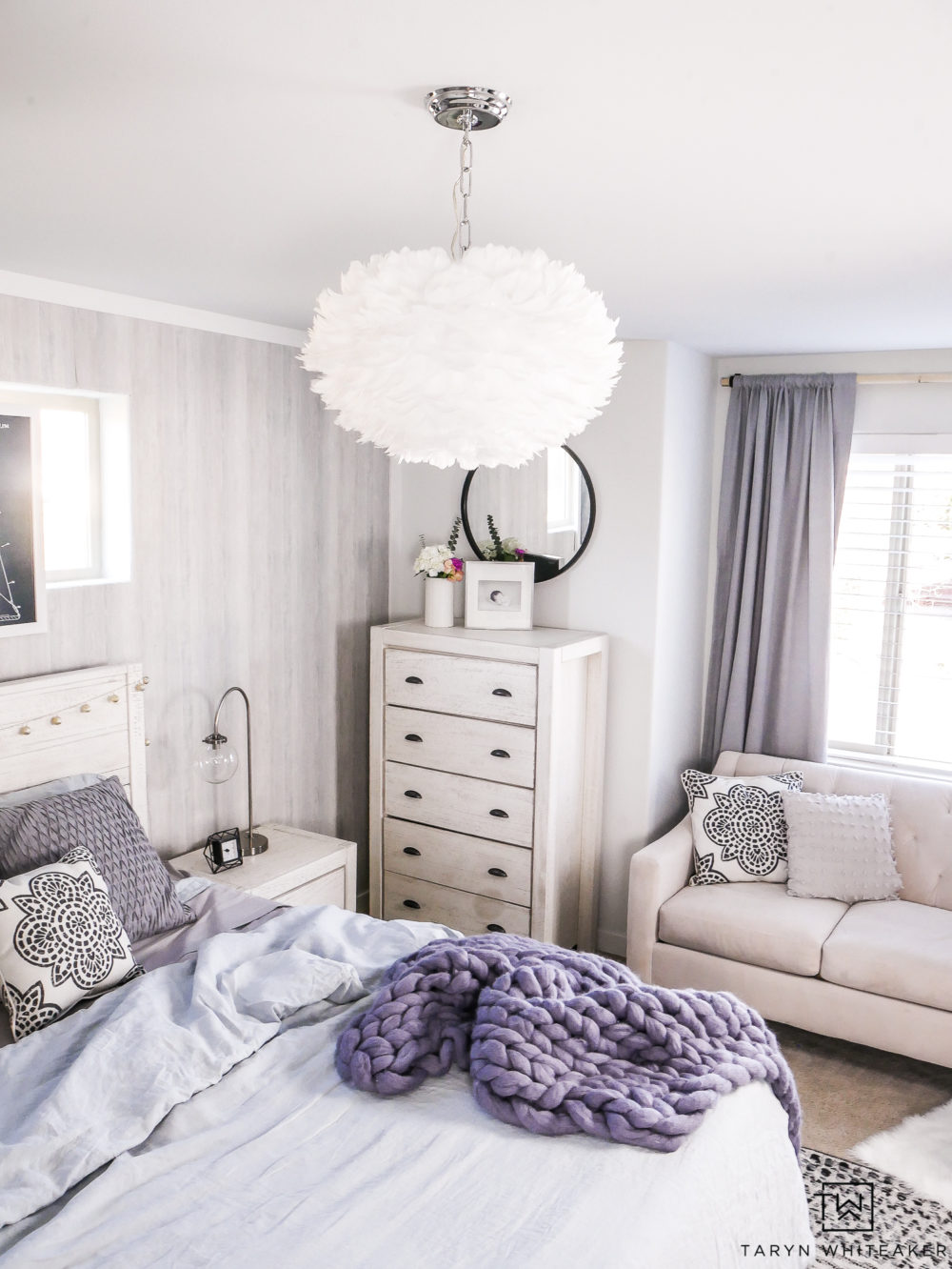 Costal Boho Bedroom! Love this take on a blue girls room with soft textures.