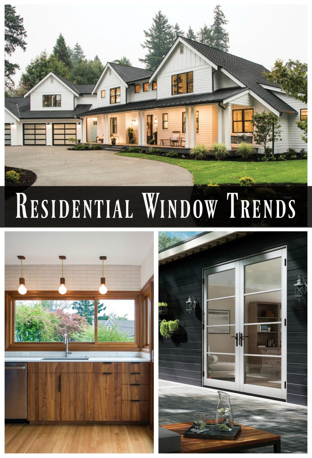 Take a look at these gorgeous residential window trends from black modern farmhouse to mid century modern wood tones. All from Milgard Windows.