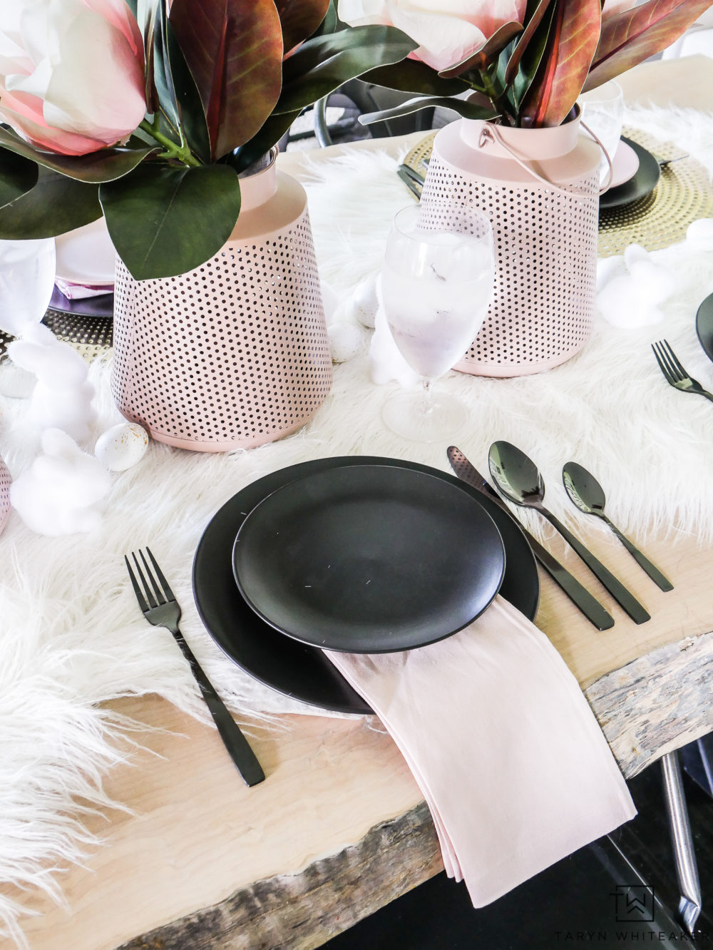 Blush pink lanterns for table centerpiece