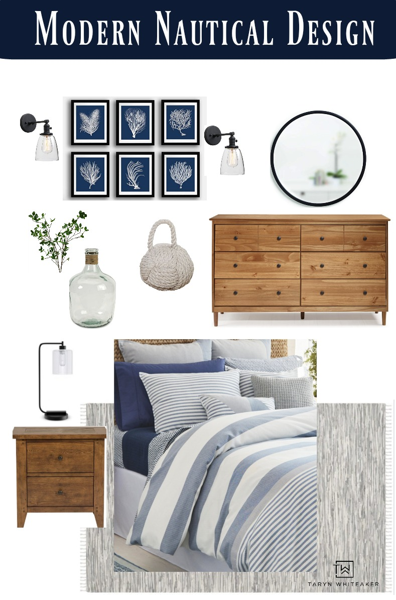 Get the look of this Modern Nautical Decor for your beach cabin or coastal home! It's a great mixture of classic and modern piees.