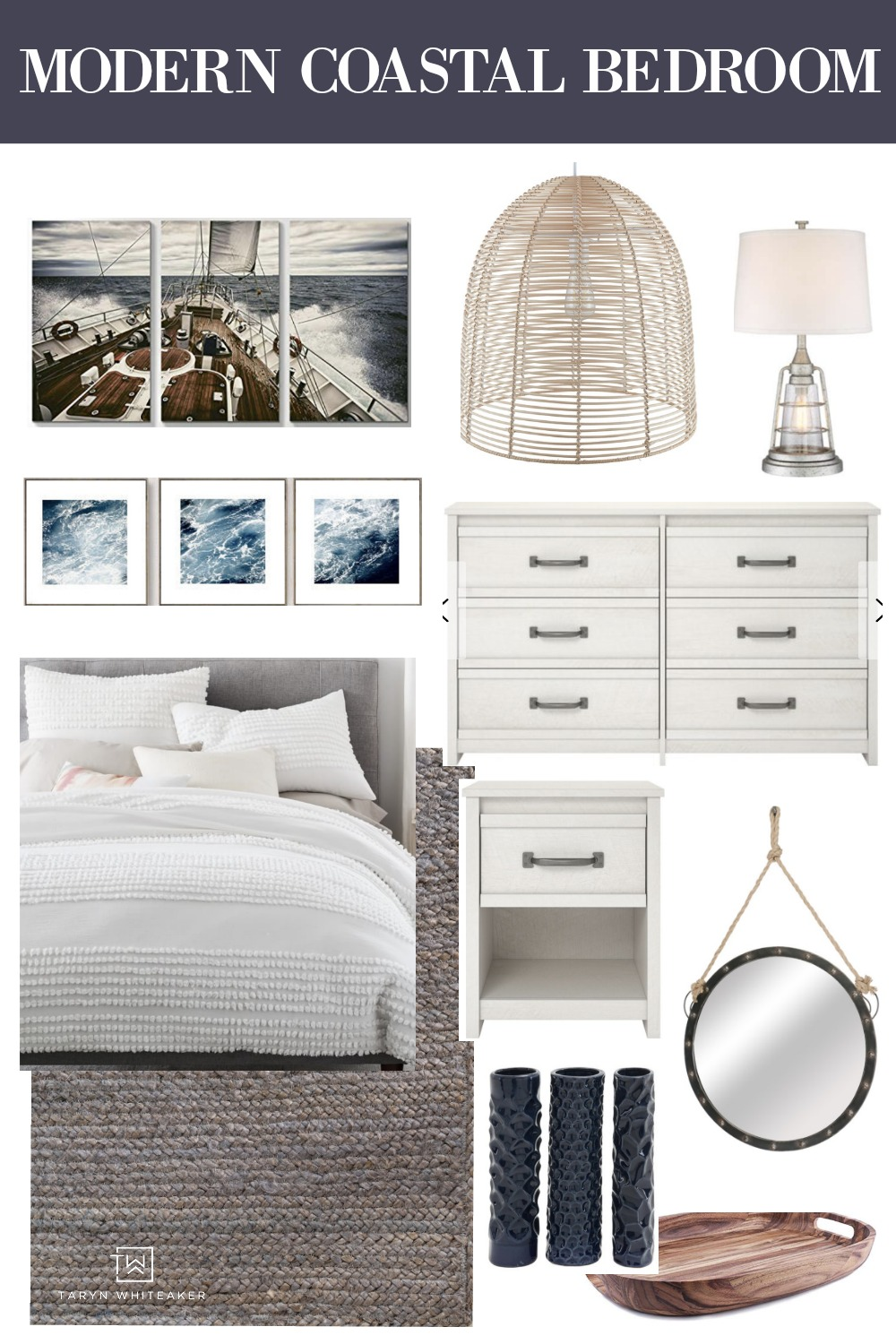 Get the look of this modern coastal bedroom! Click to get all the sources for this bright and airy coastal space.