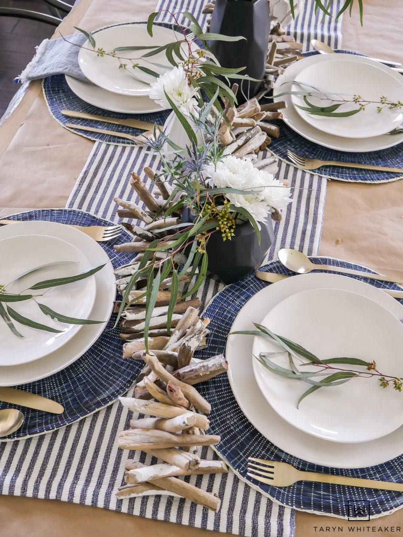 Drift wood garland makes this summer table!