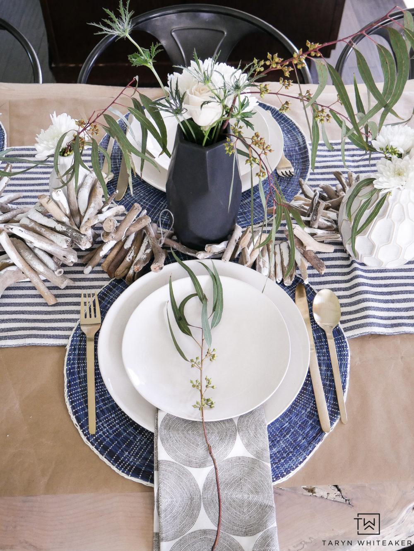 Modern Coastal Summer decor with modern floral arrangements.
