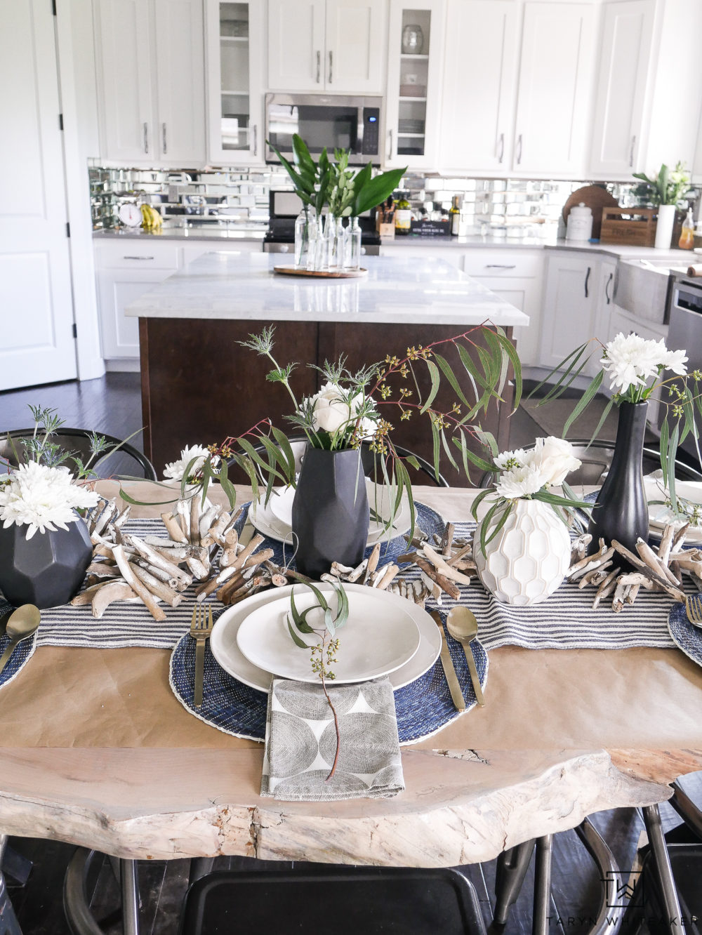 Modern Coastal Summer Table Decor mixing navy and white ticking and modern elements.
