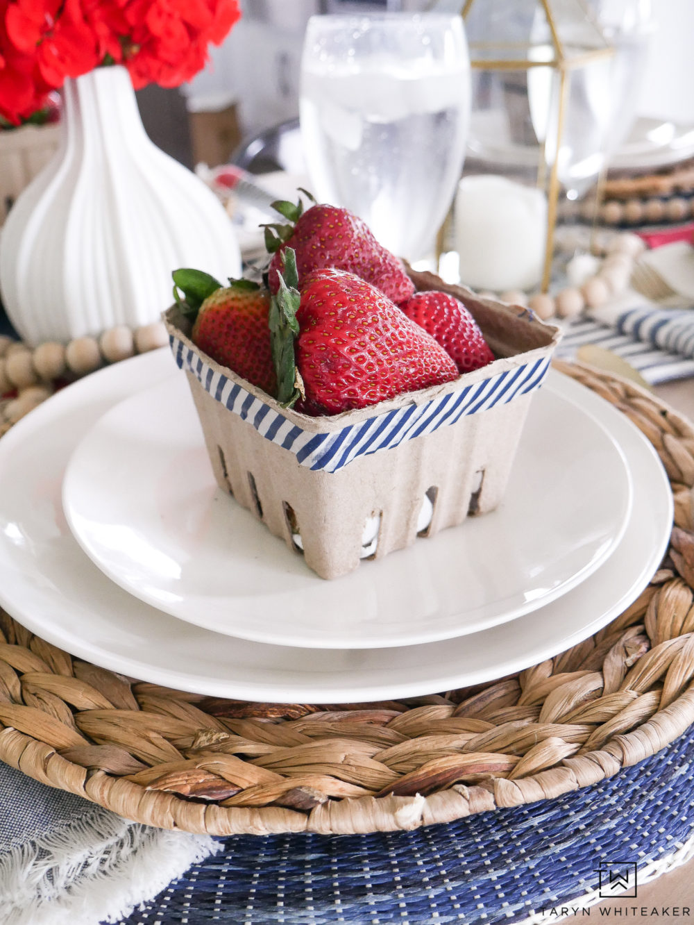Using fresh berries in crates on each place setting creates an inviting look and is so practical.