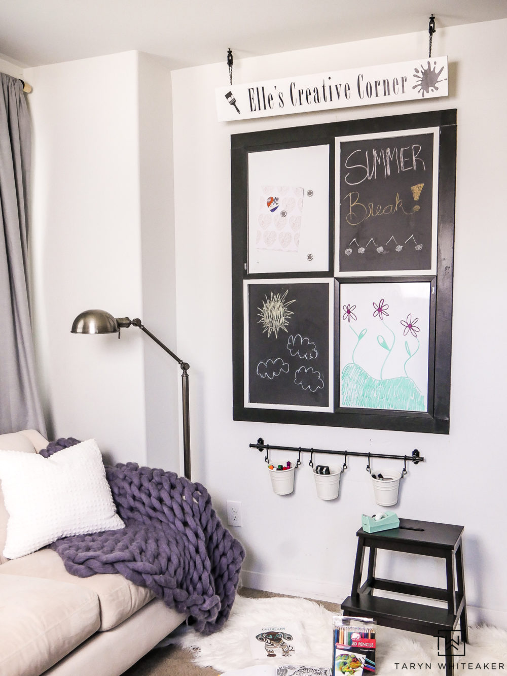 Need to take up space on a large wall or just want a place for your kids to be creative? Learn how to make this DIY Art Center for just $70!