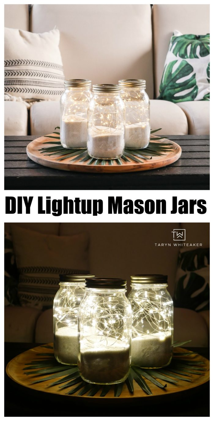 Learn how to make these easy DIY LightUp Mason Jars ! This is a 5 minute mason jar craft that anyone can do! Light up your summer or winter home with an extra sparkle.