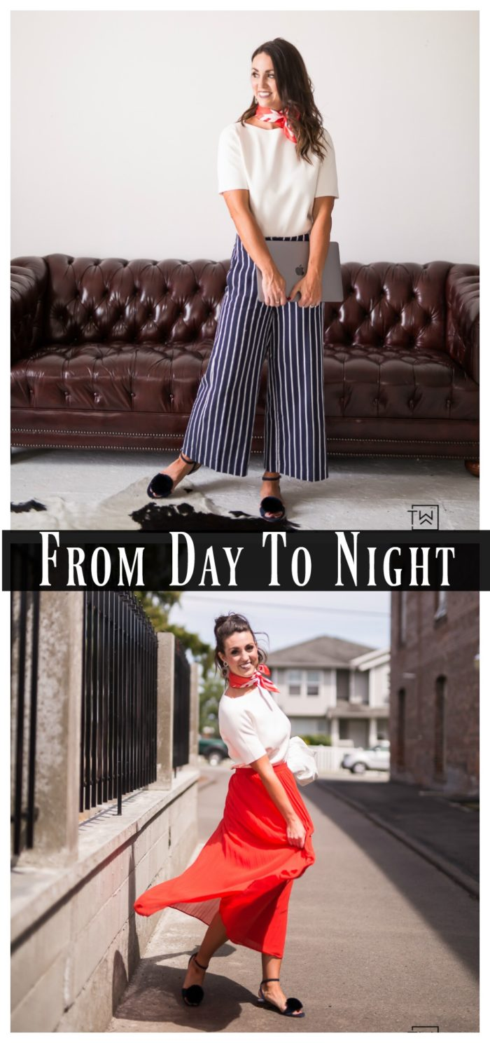 Learn how to easily Turn an Outfit From Day To Night by switching out just a few pieces!