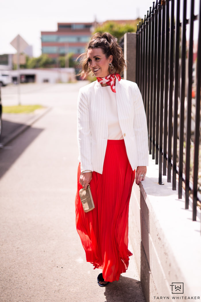 Get the look! All links are here for a cute red and white midi outfit with white blazer. Perfect, classic business casual outfit.