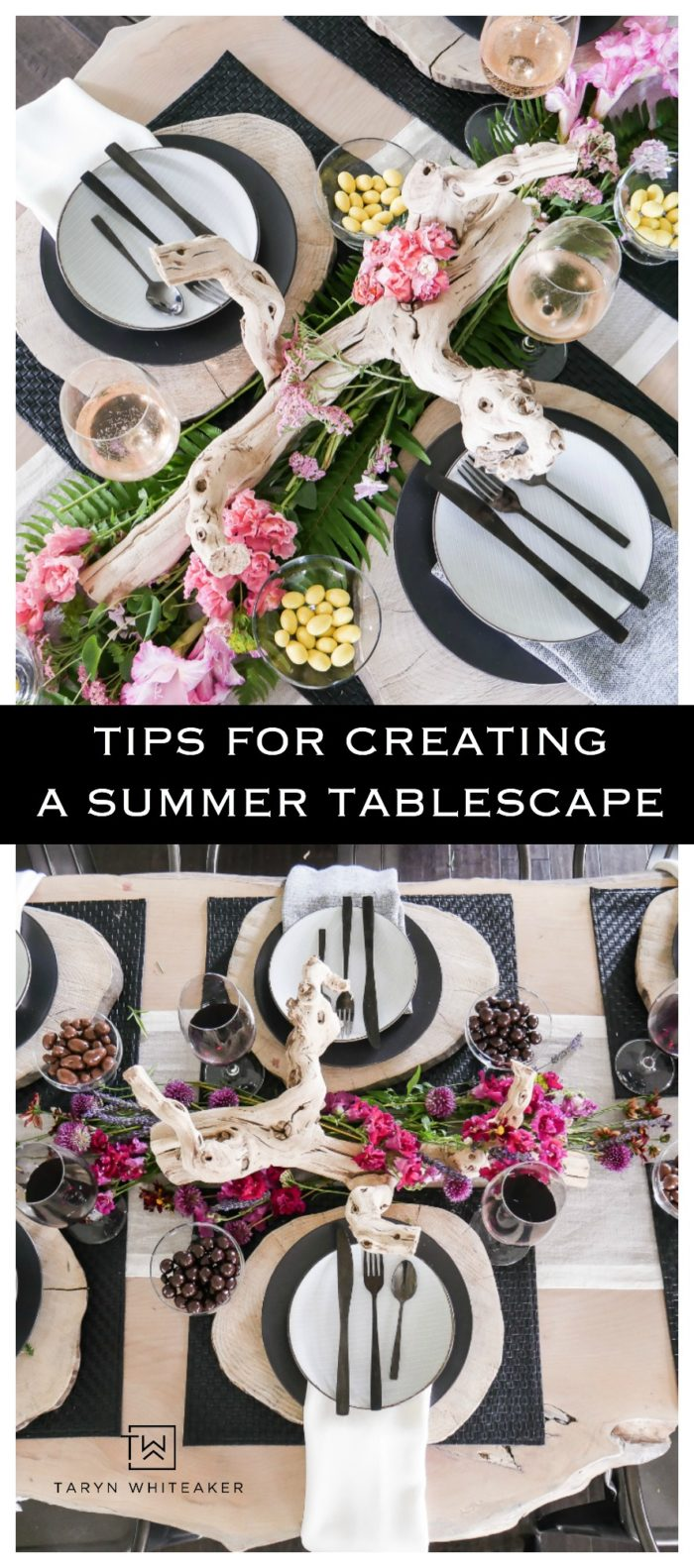 Lots of tips for creating a beautiful rustic modern summer tablescape! From deep earth tones to tropical palms! Entertain your guests in style.