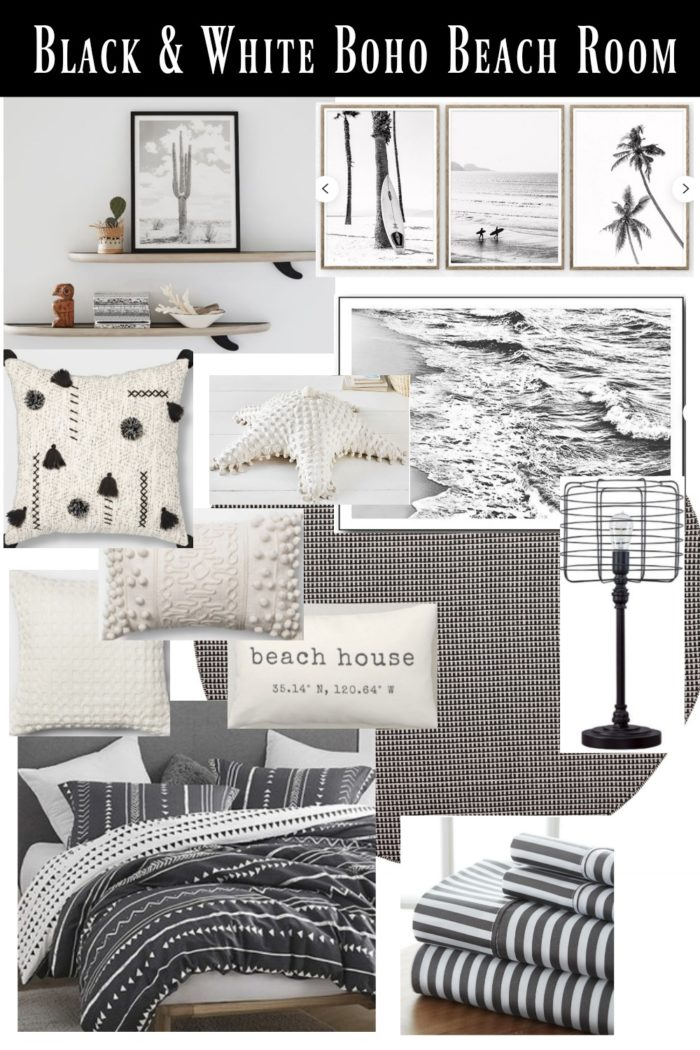 Get the look! This black and white boho beach room is perfect for a coastal home or beach rental! Click to get all the links!