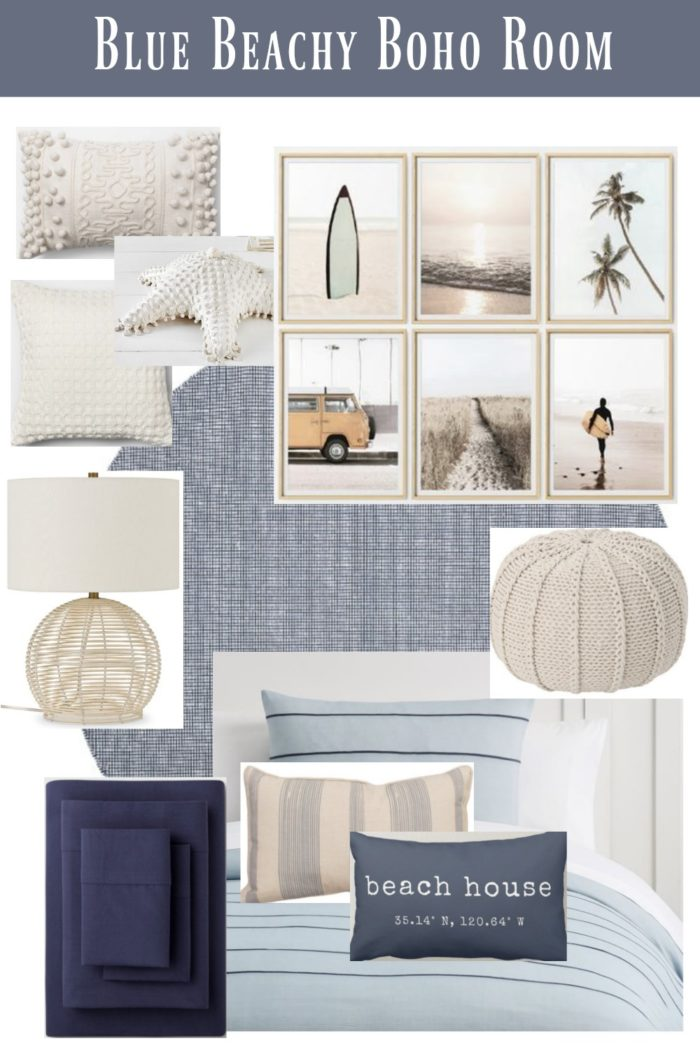 Get the look! This Pottery Barn Inspired boho beach room is perfect for a coastal home or beach house decor! Click to get all the links!
