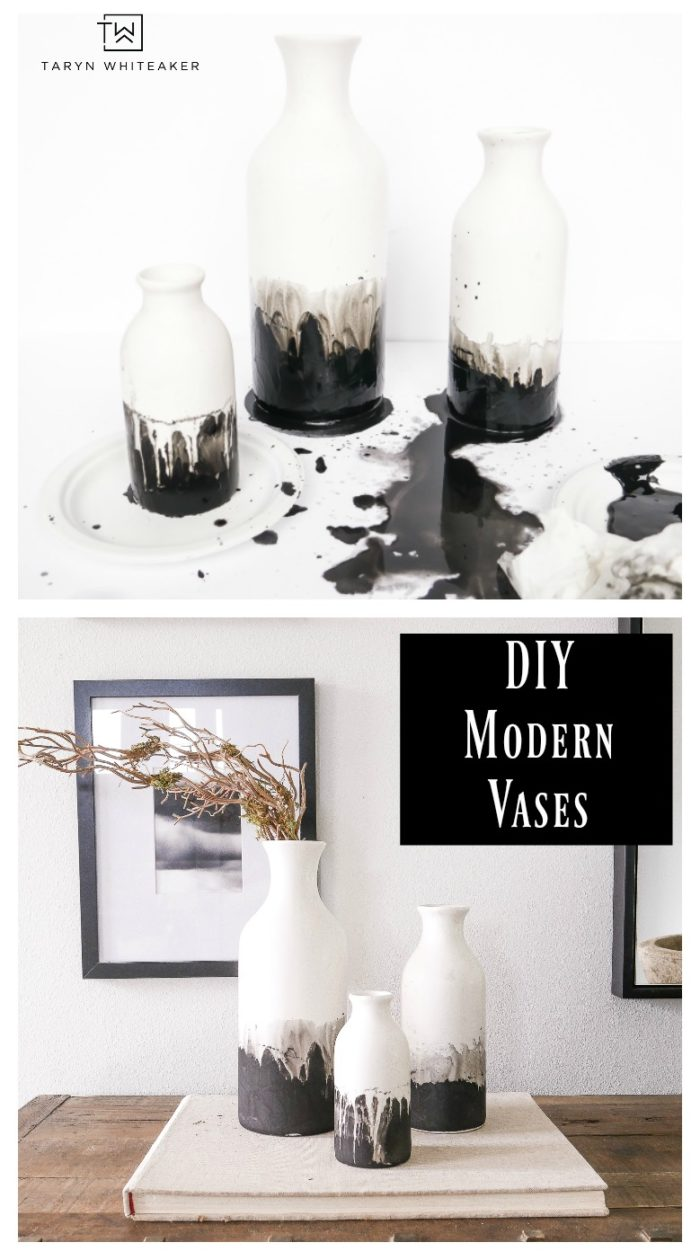 Learn how to make these DIY Black and White Modern Ceramic Vases, grab matte ceramic vases at the craft store and use black chalk paint with a water color effect. 10 minute craft anyone can do.