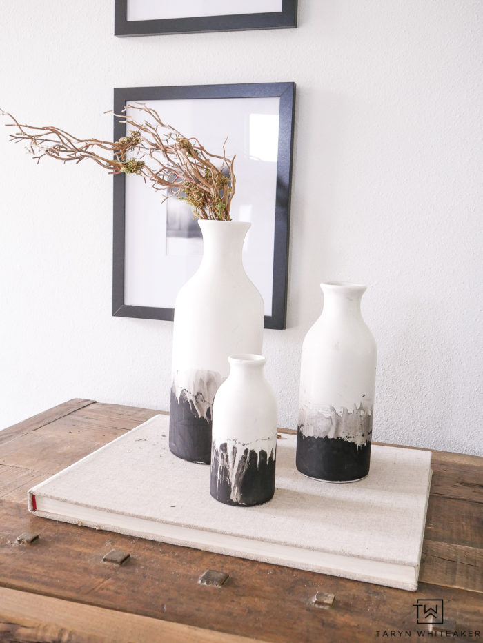 DIY water color inspired vases using chalk paint. This is a 10 minute craft that turns farmhouse style vases into modern contemporary home decor.