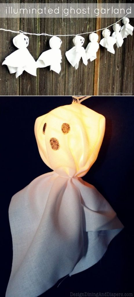 Illuminated Ghost Garland! Learn how to make this simple craft using mini string lanterns and an old sheet!