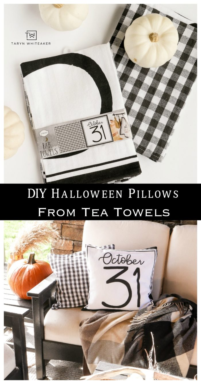 Learn how to make these DIY Halloween Pillows using $3 tea towels! Super easy and cute!