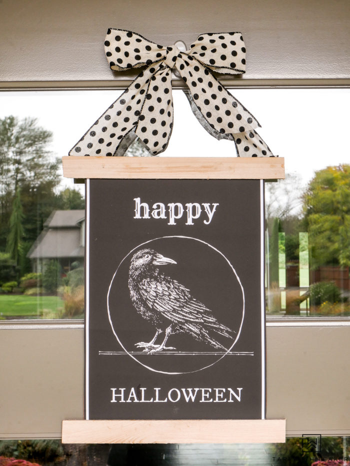 Grab your own free halloween printable and turn it into a cute DIY Door Sign for Halloween!