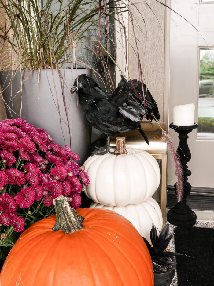 Black and White Halloween Porch Decor with pumpkins and mums!