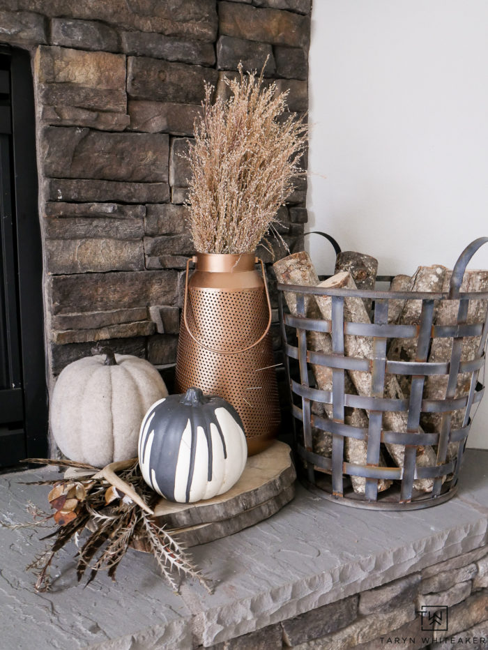 Decorating for fall with copper and pumpkins! Love all the natural fall elements.