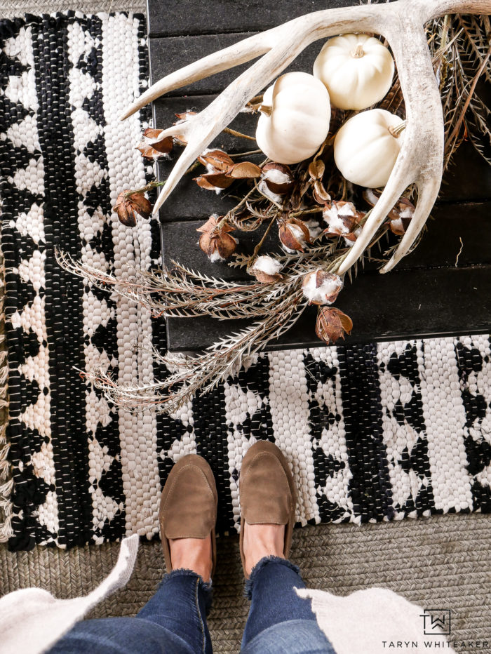 Neutral Fall Decor with cute fall loafers.