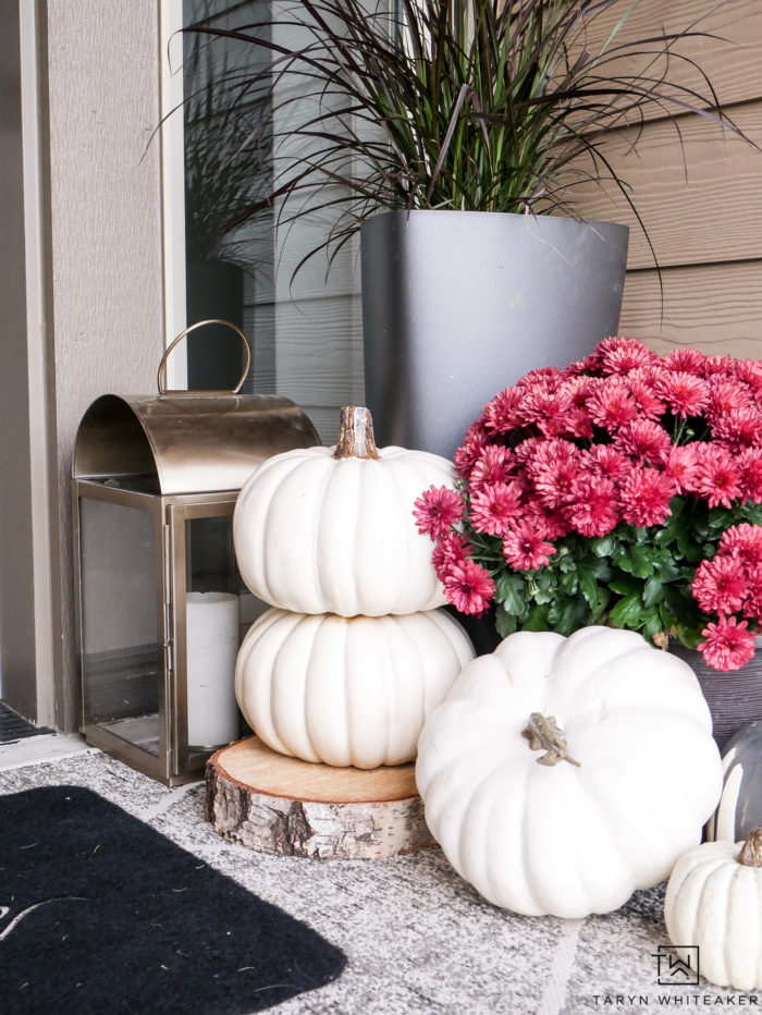 Stacked white pumpkins
