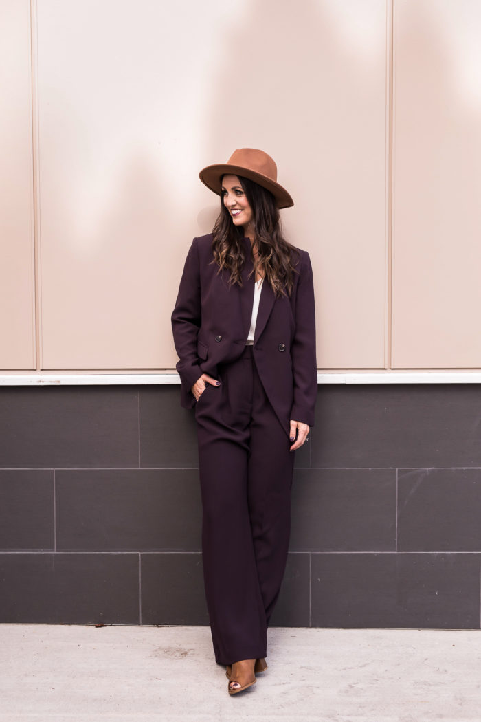 Boho Business Casual Suit! This plum suit is everything and can be paired with so many different styles.