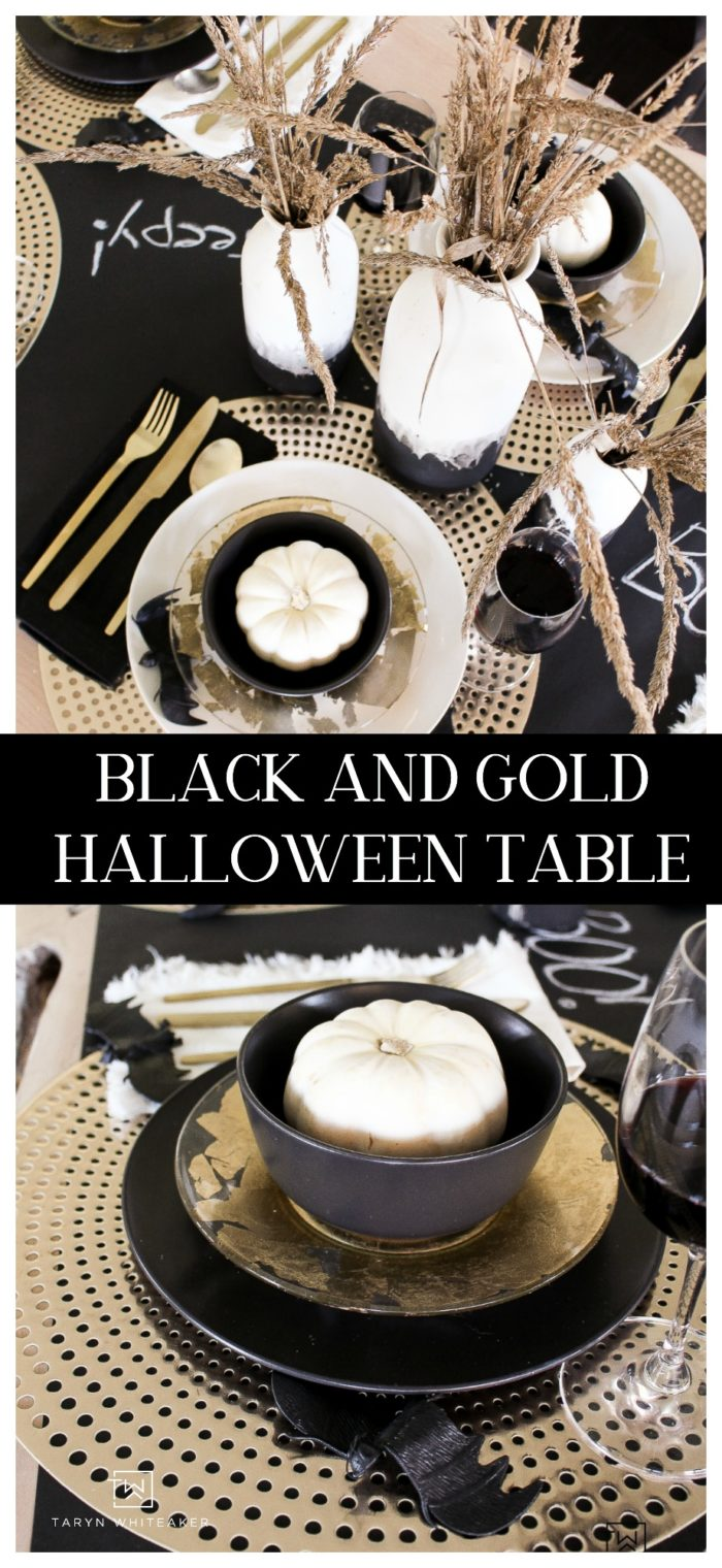 Tour this chic black and gold Halloween table filled with glam elements and lots of texture! Love this Halloween Table Decor.