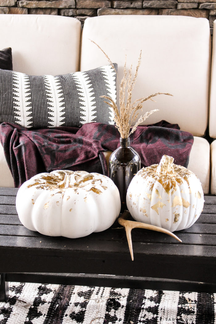 DIY Gold Leaf Pumpkins - Learn how to make these modern decorative pumpkins for your fall decor this year!